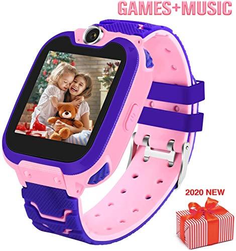 Smartwatch voor kinderen Phone-Boy Girl Music Smartwatch Kinderen kijken Grappige games HD Touchscreen Sport Kijkoproep Camera Wekker Muziekspeler, 2-12 jaar,Pink