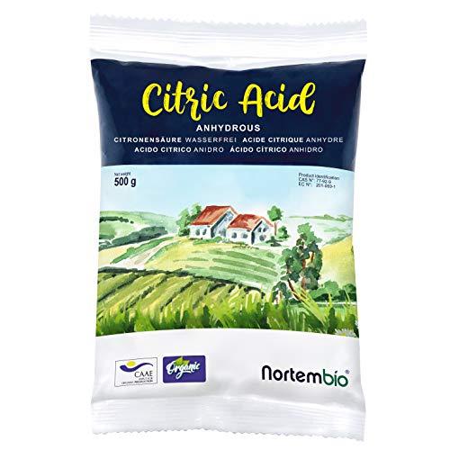 NortemBio Ácido Cítrico 500g. Polvo Anhidro, 100% Puro. para Producción Ecológica. Producto CE