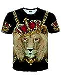 PIZOFF Unisex Kurzarm Golden T-Shirt mit 3D Bedruckt Print Schmale Passform Lion Loewen Barock T-Shirts L