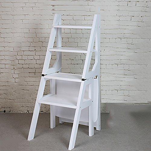 ZfgG Échelle Tabouret Tabouret en Bois Massif Ménage Deux Étapes Pliant Échelle Cuisine Double Usage Trois Couches Escalier Tabouret (Color : White)