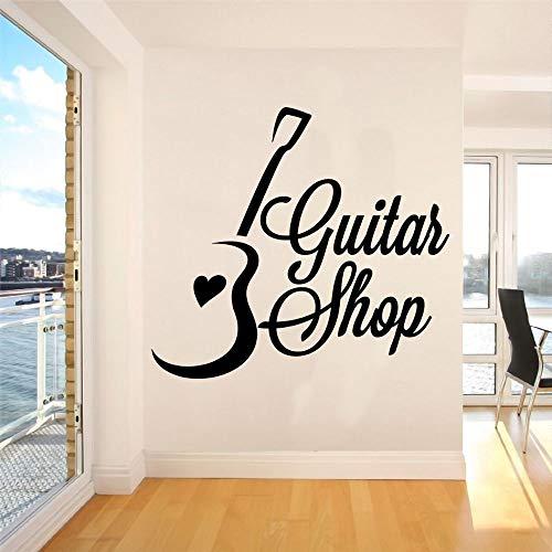wZUN Guitarra y Silueta de corazón Tienda de Guitarra Pegatina de Pared Instrumento Musical decoración de habitación de música extraíble 68X61cm
