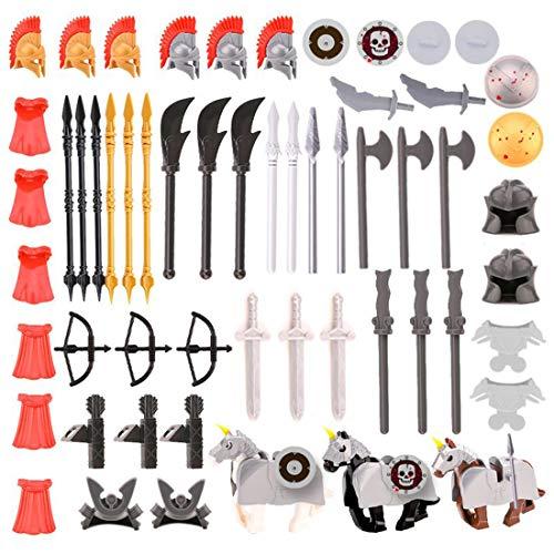 Spieland 61St. Ritter Helm, Custom Waffen Set für Ritter Mini Figuren Soldaten SWAT Team Polizei, passen zum Lego