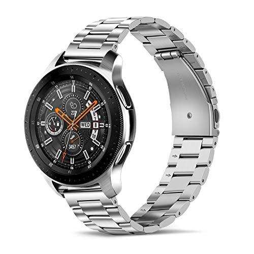 Tasikar Compatible con Correa Huawei Watch GT2 42mm, 20mm Correas de Reloj de Acero Inoxidable Pulseras de Repuesto para Garmin Vivoactive 3, Huawei Watch 2, Samsung Galaxy Watch Active 2 (Plata)