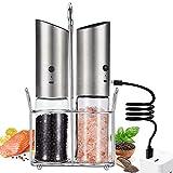 Premium Electric Salt and Pepper Grinder 2 Piece Set,USB Rechargeable Electric Salt and Pepper...