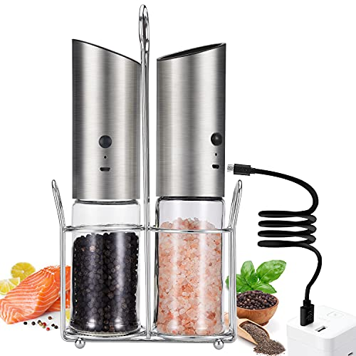 Premium Electric Salt and Pepper Grinder 2 Piece Set,USB Rechargeable Electric Salt and Pepper Grinder with LED Light,Coarse and Fine Adjustable Gravity Electric Pepper Grinder Refillable