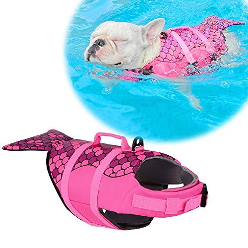 CKEBZPI Shark Dog Safety Life Jacket Vest, Adjustable Safety Floatation Dog Life Vest Preserver for Swimming Boating Beach Playing, Safety Lifesaver with High Buoyancy and Lift Handle (Pink,S)
