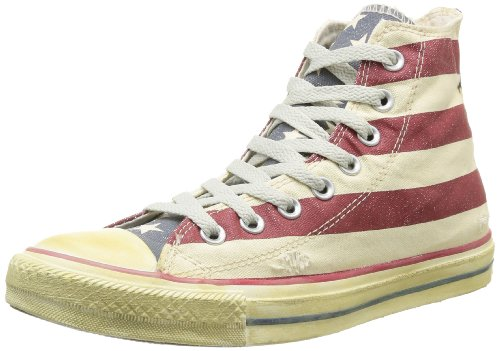 Converse All Star High Graphics - Zapatillas tipo bota para hombre, diseño a rayas, Multicolor (White/navy/red), 37 EU