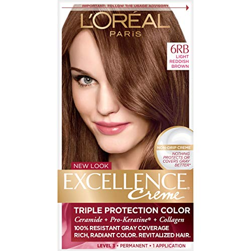 L'Oreal Paris Excellence Creme Permanent Hair Color, 6RB Light Reddish Brown, 100 percent Gray Coverage Hair Dye, Pack of 1