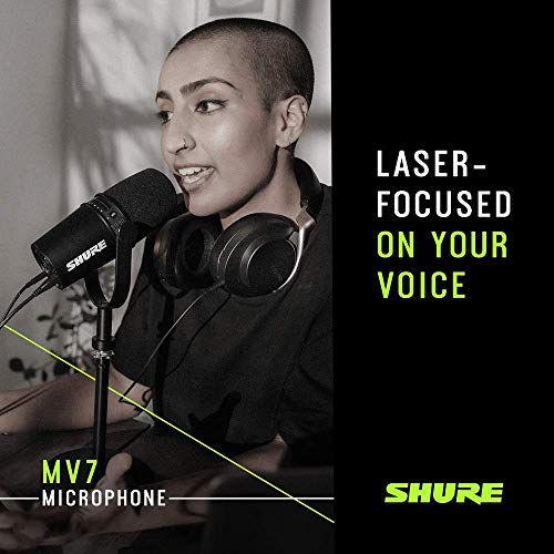 Shure MV7 USB Podcast Microphone for Podcasting, Recording, Live Streaming & Gaming, Built-In Headphone Output, All Metal USB/XLR Dynamic Mic, Voice-Isolating Technology, TeamSpeak Certified - Black
