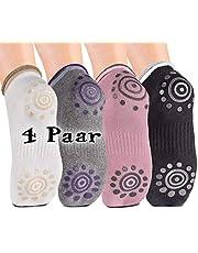 Body & Mind Women Yoga Sokken anti-slip sokken voor Yoga, Pilates, Aerobic en Fitness training; Stopper sokken (4 paar)