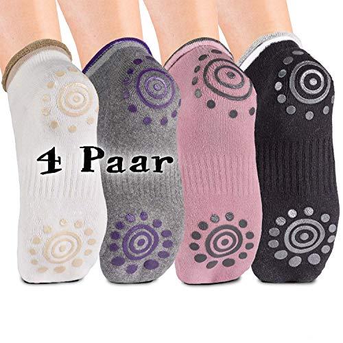Body und Mind Damen Yogasocken rutschfeste Socken für Yoga, Pilates, Aerobic & Fitness-Training; Stoppersocken (4 Paare)