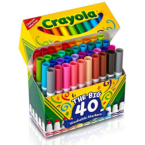 Crayola Ultra Clean Washable Broad Line Markers, 40 Classic Colors, Gift For Kids