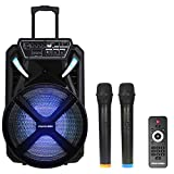STARQUEEN Portable Karaoke Speaker for Adults & Kids with 15 Inch Woofer Bluetooth PA System with 2 Wireless Mics/clips/TF/AUX IN/OUTPUT Great for Wedding Party Meeting Church