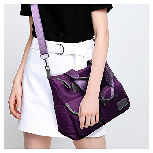 Women's Shoulder Bags, Gracosy Fashion Nylon Waterproof Cross Body Bag Oxford Fabric Sling Bag, Multifunctional Travel Outdoor Mummy Handbag Purple 13.3×18.8×5.1 inch
