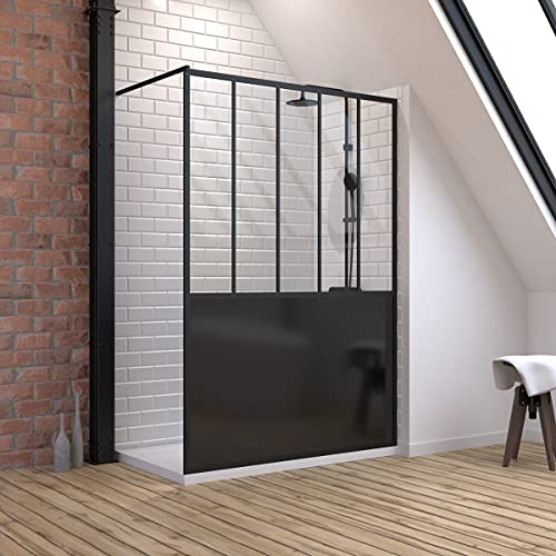 Pack de mampara de ducha de 140 x 200 cm, color negro...