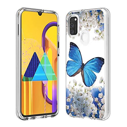 Hülle für Samsung Galaxy M30S,Durchsichtig Handyhülle Hybrid Rundumschutz (Hartplastik + Weich TPU Silikon Bumper) Ultradünne Stoßfest Schutzhülle Transparent Cover Case (Blauer Schmetterling)