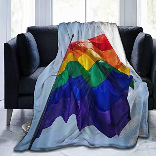 YOUMEISU Kuscheldecke Fleecedecke Flanell Decke Regenbogen-Stolz-Flagge im Wind gegen blauen Himmel über San Diego Parade LGBT Hillcrest Blanket Für Bett Sofa Schlafzimmer Büro 127x150cm