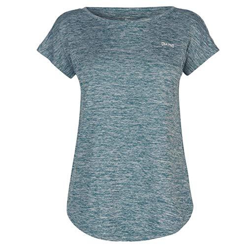 USA Pro Damen Boyfriend T Shirt Fluegelaermel Training Sport Fitness Tee Top Fingerhut Pink XL