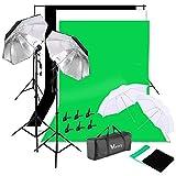 Shuishui - Kit de iluminación para fotografía (135 W, color negro y plateado y negro)