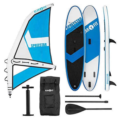 KLAR FIT Spreestar WM - Paddle Surf con o sin Vela, Tabla Sup Hinchable, Set Completo, 300x10x71 cm, Vela 4 m, Bomba de Aire manómetro, Transportable con Mochila, Kit reparación, Blanco y Azul