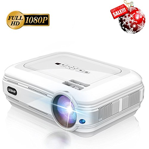 LESHP - Proiettore Full HD Video Proiettore del LCD 720P Alta Luminosità 1280 x 800 Risoluzione Nativa 3200 Lumen Multimedia Teatro Casa HDMI VGA USB Supporto PC Portatile TV per Casa Presentazione