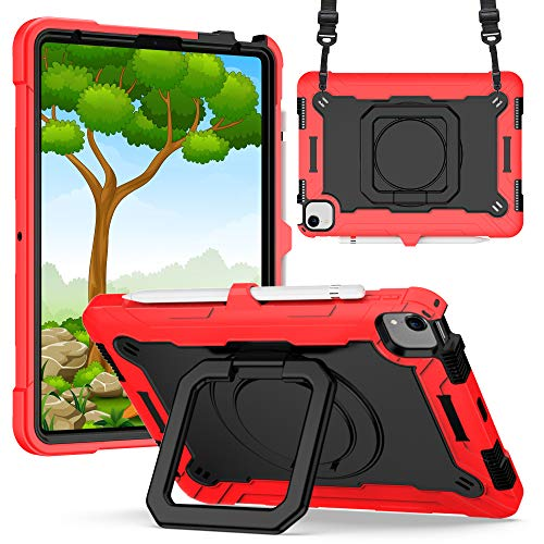Billionn Kids Case for iPad Air 4th Generation 2020 10.9 Inch, Rugged 360-degree Rotating Bracket Protective Cover with Shoulder Strap - Red/Black