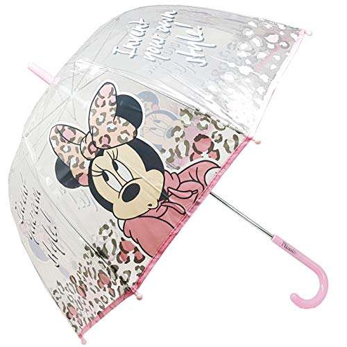Paraplu, transparant, handmatige koepel, kinderparaplu, paraplu, meisjes, Minnie Fashion 62 cm