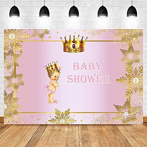 Rosa Princesa Real Baby Shower telón de Fondo niñas Corona Dorada fotografía Fondos cumpleaños Foto Fondo A1 5x3ft / 1,5x1m