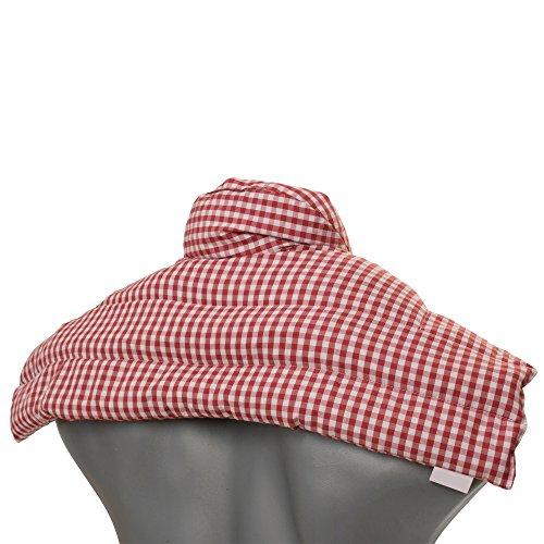 Rapssamenkissen Schulter & Nackenkissen mit Kragen | Bio-Stoff rot-weiß | Gute Wärme für den Nacken | Eine Alternative zum Nackenhörnchen