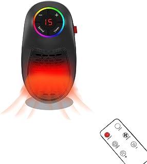 Nifogo Calentador Electrico, Calefactor Baño, Mini Ventilador de Calefacción, Estufa Eléctrica Portatil con La Pantalla LED Digital Ajustable para Habitación Pequeña (Lámpara de Siete Colores)