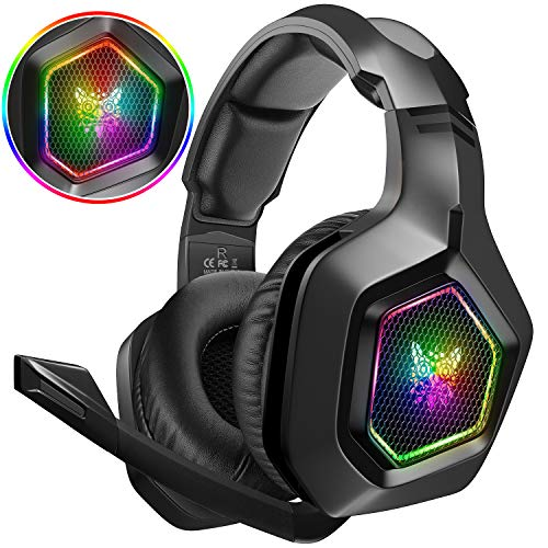 DIZA100 Gaming Headset für PS4 PC Xbox One, 3.5mm Surround Sound Kabelgebundenes Gaming Kopfhörer mit RGB-Licht und verstellbarem Mikrofon für Laptop Mac Handy Tablet
