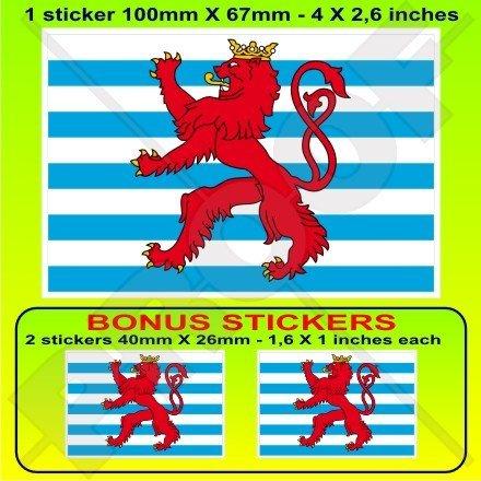Luxemburg Handelsflagge Flagge Letzebuerg, Luxemburg 10,2cm (100mm) Vinyl Bumper Aufkleber, Aufkleber X1+ 2Bonus