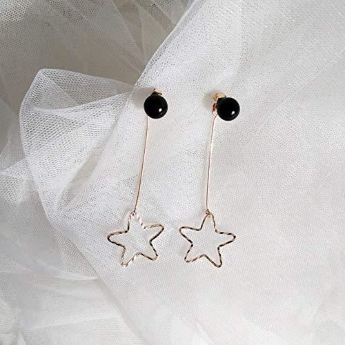 Chwewxi Mode Wilde Sterne lieben einfachen Stil Ohrringe Ohrringe einfache Haar Ball Bogen Ohrringe Temperament weiblich, Marineblau 65# Schwarze Perlenohrringe