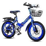 Montaña de la Bicicleta de los niños Bicicleta Plegable de Velocidad de 20 Pulgadas 6-8-10 Años de Edad Niño Niña de Bicicletas (Color : Blue)
