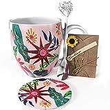 YC YANG CHAI YC Sunflower Cup - Set de regalo para los amantes del café (4 piezas, taza de café de porcelana XXL, platillo y cuchara extra larga)