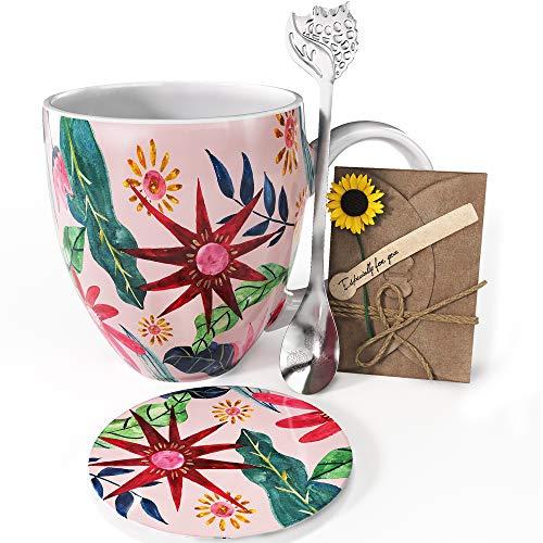 YC YANG CHAI 4-Teiliges Geschenkset für Kaffeeliebhaber - XXL- Porzellan-Kaffeebecher + Untersetzer + Extra-Langer Löffel - YC Sunflower Cup