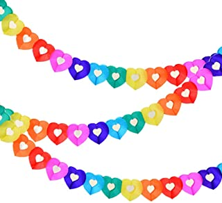 SOARSWAN Party Supplies Favors Banners Garland for Kids Party, Colorful Rainbow Tissue Paper Decorations Heart Shape