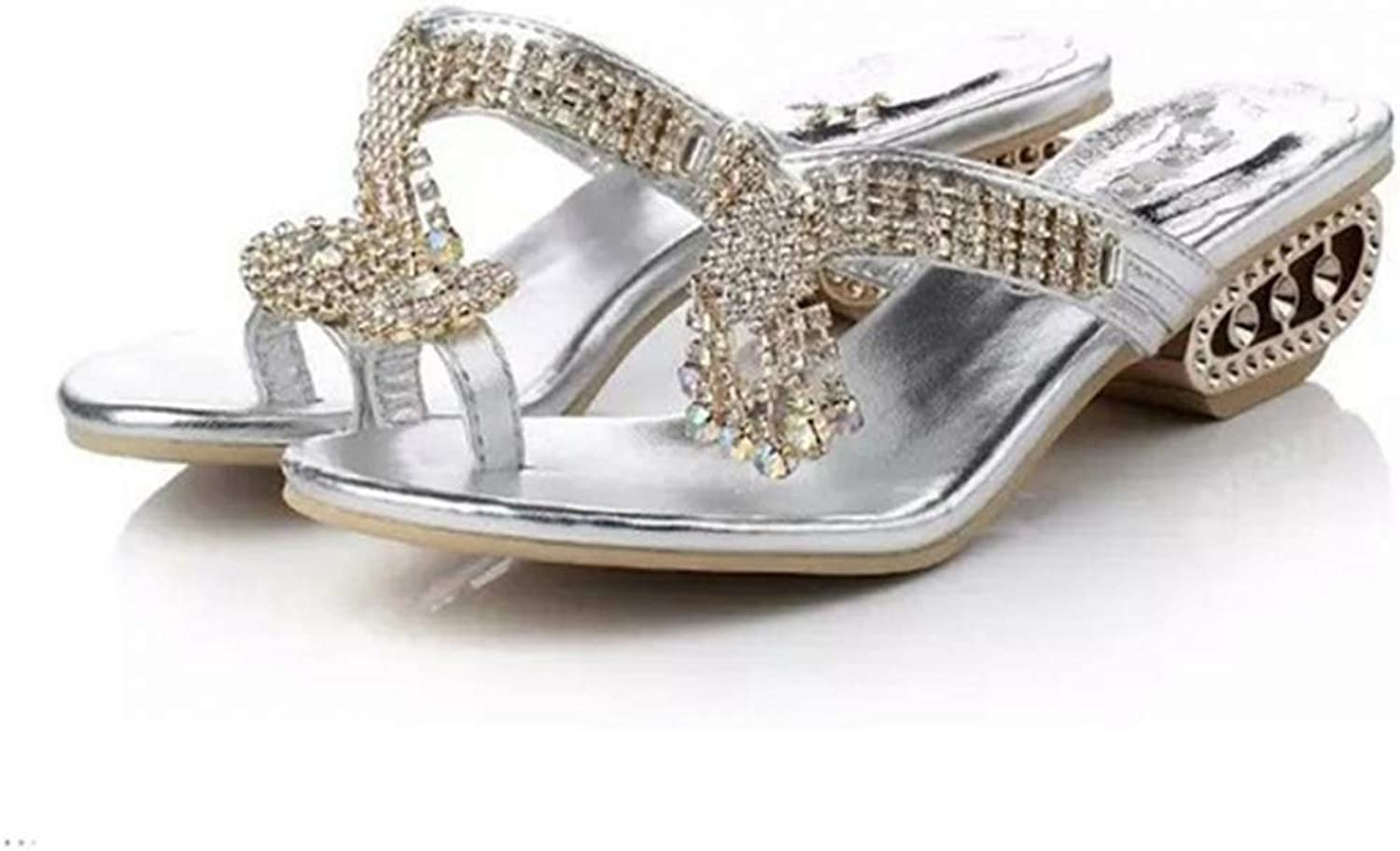 T-JULY Flip Flops Women Sandals Ladies Slippers Hollow Out Low Heels Slip-on shoes with Rhinestone for Summer