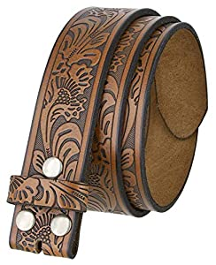 "Western Tooled Leather Belt Strap w/Snaps for Interchangeable Buckles 1 1/2"" Wide (Brown, 44)"