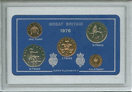 1976 Vintage GB Great Britain British Coin Birth Year Retro Gift Set (42nd Birthday Present or Wedding Anniversary)