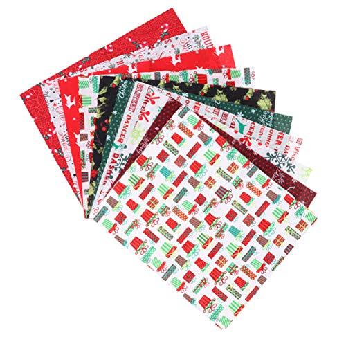 Pacote de 10 peças de tecido de algodão da Exceart com tema de Feliz Natal, colcha de retalhos para costura, artesanato de costura
