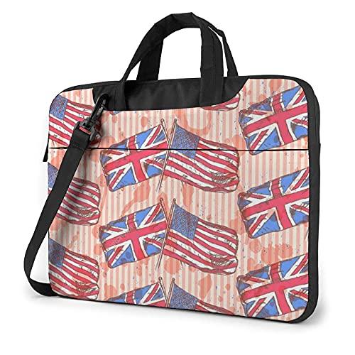 Bolsa para portátil de 13-15,6 Pulgadas Bosquejo de banderas de Reino Unido de Estados Unidos Bolso de Hombro para portátil Bolso de Hombro Elegante Ordenador Portátil