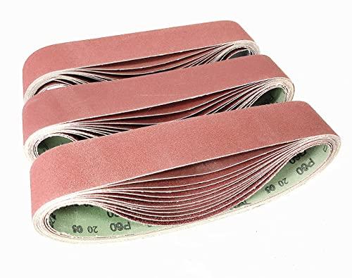 Bandas de Lija 50x 686 mm, Banda Abrasiva 2 x grano 60/80/120/180/240/400 para Lijadora de Banda para Pulir Bandas de lijado-(12 piezas)