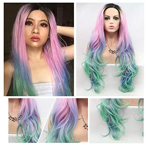 Perruque longue ondulée Big cheveux bouclés ondulés pour femmes Respirant haute qualité mode Dégradé Rose mixte cheveux longs synthétique partie perruque du parti Party,Déguisements Acteur cospla