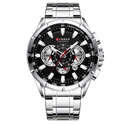 Reloj de pulsera deportivo con cronógrafo, correa de acero inoxidable, esfera grande, de cuarzo, con puntero luminoso, color negro