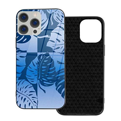 Funda de protección compatible con iPhone 12 / iPhone 12 Pro Case Monstera Leaf Tropical Hawaiian Rayas Blancas/Cubierta de cristal templado