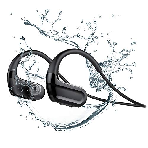 Dailylux IPX8 Waterproof Bluetooth Earbuds,V5.0 Bluetooth Wireless Sports Swimming Headphone,8GB MP3 w/Mic HiFi Sound Stereo Earbuds Noise Cancelling Earphone,Black