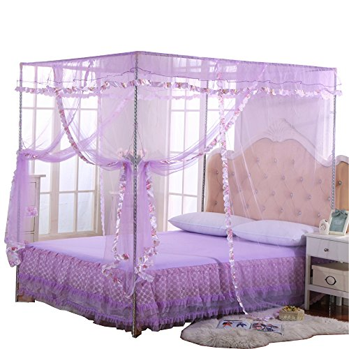JQWUPUP Mosquito Net for Bed - 4 Corner Canopy for Beds, Canopy Bed Curtains, Bed Canopy for Girls Kids Crib, Bedroom Home Decor (Twin Size, Purple)
