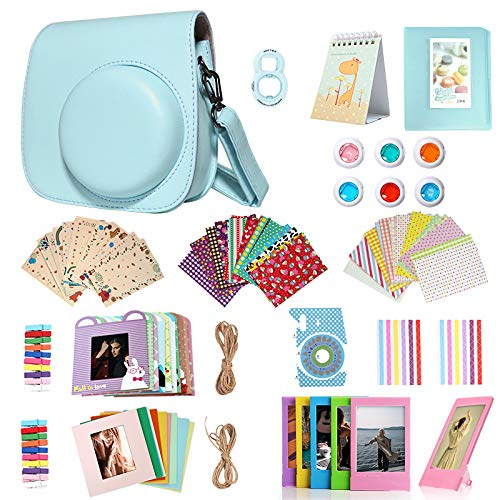Homesuit 14-in-1-Zubehörset für Fujifilm Instax Mini 9/8/8 + Gehäuse/Album/Selfie-Objektiv/Filter/Filmrahmen/Wandbehangrahmen/Randaufkleber/Eckaufkleber/Filmkalender (Ice Blue)