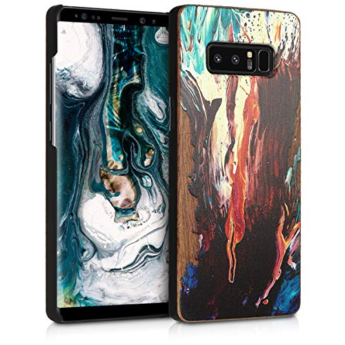 kwmobile Wood Case Compatible with Samsung Galaxy Note 8 DUOS - Non-Slip Natural Solid Hard Wooden Protective Cover - Watercolor Waves Orange/Turquoise/Brown